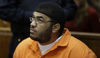 Jose Pimentel appears in a courtroom in New York, Wednesday, Feb. 19, 2014.   Pimentel, accused of building homemade bombs to wage holy war in New York City,  pleaded guilty Wednesday to a terrorism charge less than a week before his scheduled trial in a rare state-level terrorism case.  With the plea, Pimentel, 29, was promised a sentence of 16 years in prison. He would have faced a minimum of 15 years to life if convicted of the top charge, a high-level weapons possession offense as a terrorism crime.  (AP Photo/Seth Wenig, Pool)