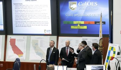 California Gov. Jerry Brown, second from left, is given a tour of the California Emergency Services State Operations Center by OES Director Mark Ghilarducci, third from left, in Mather, Calif., Wednesday, Feb. 19, 2014. Brown, accompanied by Senate President Pro Tem Darrell Steinberg, D-Sacramento, left, and Assembly Speaker John Perez, D-Los Angeles, fourth from left, behind Ghilarducci, toured the facility before  announcing a $687 million plan to provide immediate help to drought-stricken communities throughout California. (AP Photo/Rich Pedroncelli)