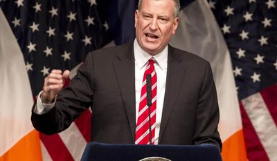 ** FILE ** New York Mayor Bill de Blasio delivers his State of the City address at LaGuardia Community College in the Queens borough of New York, Monday, Feb. 10, 2014, in New York. (AP Photo/Mark Lennihan)