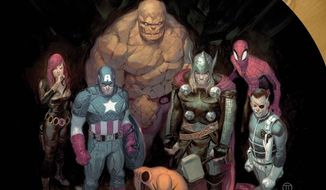 "This image released by Marvel shows the cover image of ""Original Sin."" The issue, available in April, is written by Mark Waid and drawn by Jim Cheung and will be followed by an eight-issue limited series in May. (AP Photo/Marvel)"