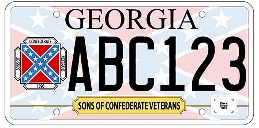 ** FILE ** In this undated image released by the Georgia Department of Revenue, a new Georgia car tag is shown. Georgia officials are releasing a specialty license plate featuring the Confederate battle flag, infuriating civil rights advocates and renewing a fiery debate. The Georgia Division of the Sons of Confederate Veterans requested that the state issue the new plates. A spokesman says it meant no offense and that people have a right to commemorate their heritage. (AP Photo/Georgia Department of Revenue)