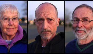 This Nov. 19, 2012, combo photo shows anti-nuclear weapons activists Sister Megan Rice, left, Michael Walli, center, and Greg Boertje-Obed in Knoxville, Tenn. The three were sentenced Tuesday, Feb. 18, 2014, for the role they played in a July 2012 break-in at the Y-12 National Security Complex. Sister Megan Rice, 84, was sentenced to nearly three years in prison and Michael Walli and Greg Boertje-Obed were sentenced to more than five years in prison. The break-in raised questions about the safekeeping at the facility that holds the nation's primary supply of bomb-grade uranium. (AP Photo/The Knoxville News Sentinel, Saul Young)
