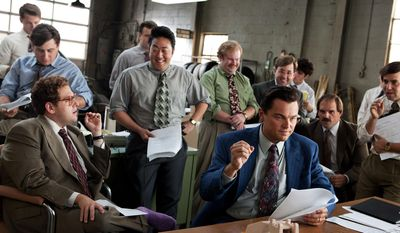 """This photo released by Paramount Pictures shows from left, front, Jonah Hill as Donnie Azoff, Kenneth Choi as Chester Ming, Leonardo DiCaprio as Jordan Belfort, Henry Zebrowski as Alden Kupferberg (""""Sea Otter""""), P.J. Bryne as Nicky Koskoff (""""Rugrat""""), and Ethan Suplee as Toby Welch in the film, 'The Wolf of Wall Street,"""" from Paramount Pictures and Red Granite Pictures. (AP Photo/Paramount Pictures, Mary Cybulski)"""