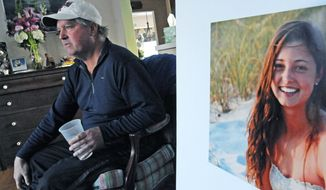 In this Jan. 23, 2014 photo, James Holleran, father of Madison Holleran, a UPenn freshman who committed suicide, talks about his daughter while sitting next to a favorite photo of her, at his home in Allendale, N.J. (AP Photo/The Philadelphia Inquirer, April Saul)  MAGS OUT;  NEWARK OUT