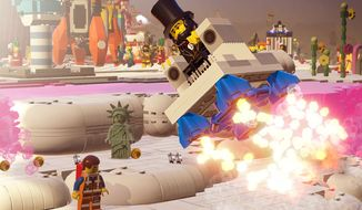 Abraham Lincoln flies away in the Lego Movie Videogame for the PlayStation 4.