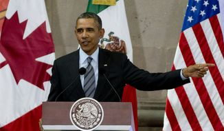 ** FILE ** President Barack Obama speaks during a news conference at the end of the North American Leaders Summit in Toluca, Mexico, Wednesday, Feb. 19, 2014. The leaders of the three North American Free Trade Agreement (NAFTA) nations met in part to highlight the economic cooperation that has grown since NAFTA joined the U.S., Canada and Mexico 20 years ago. (AP Photo/Eduardo Verdugo)