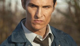 """This image released by HBO shows Matthew McConaughey as Rustin Cohle in a scene from the series """"True Detective."""" A few years ago, Matthew McConaughey's career had bottomed out in rom-com mediocrity. He resolved to alter his path, and the rebirth that followed _ the so-called McConaissance _ reaches an apogee with his Oscar nomination for his performance in """"Dallas Buyers Club.""""  (AP Photo/HBO, Jim Bridges)"""