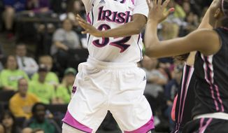 Notre Dame's Jewell Loyd (32) shoots during the second half of an NCAA college basketball game against Wake Forest on Thursday, Feb. 20, 2014, in Winston-Salem, N.C. Notre Dame won 86-61. (AP Photo/Lynn Hey)