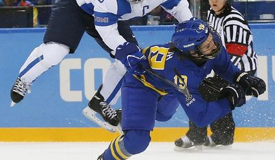 10ThingstoSeeSports - Jenni Hiirikoski of Finland (6) and Maria Lindh of Sweden collide during the 2014 Winter Olympics women's quarterfinal ice hockey game at Shayba Arena, Saturday, Feb. 15, 2014, in Sochi, Russia. (AP Photo/Petr David Josek, File)