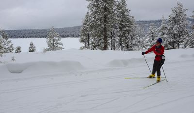 In this undated photo, Janis Seufert, of McCall, Idaho, skate skis along one of Ponderosa State Park' groomed trail along Payette Lake in McCall, Idaho. (AP Photo/The Idaho Statesman, Pete Zimowsky )  LOCAL TV OUT (KTVB 7)