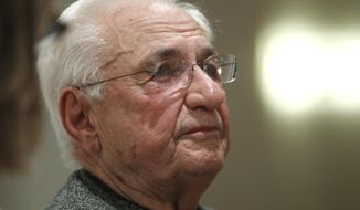 FILE - In this Oct. 18, 2011 file photo, renowned architect Frank Gehry is seen in Washington. Gehry returns to a federal arts panel to try again to win approval for his design to build a memorial honoring Dwight D. Eisenhower in Washington. The U.S. Commission of Fine Arts has approved the general concept and sculptural elements, but some members have objected to part of Gehry's plan calling for metal tapestries to frame a memorial park. They also wanted to see further development of the landscaping plan. (AP Photo/Charles Dharapak, File)