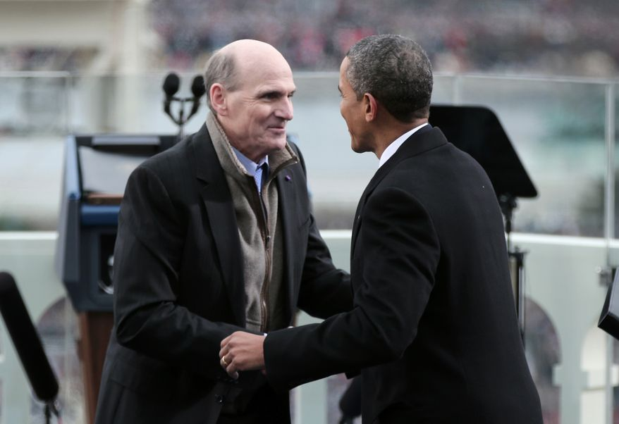 """resident Barack Obama greets singer James Taylor  on the West Front of the Capitol in Washington, Monday, Jan. 21, 2013, after Taylor sang """"American the Beautiful"""" during the president's ceremonial swearing-in ceremony during the 57th Presidential Inauguration.  (AP Photo/Win McNamee, Pool)"""