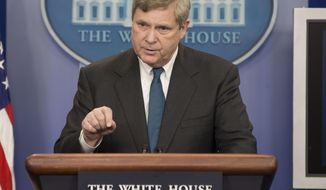 FILE - This Feb. 5, 2014 file photo shows Agriculture Secretary Tom Vilsack speaking in the White House briefing room in Washington. The number of U.S. farms is declining even as the value of their crops and livestock has increased over the past five years, a new government census of America's agriculture says. Also, farmers are getting older _ the average age was 58.3 years. But Vilsack points to a bright spot: a small rise in the number of farmers between 25 and 34 years old.  (AP Photo/Pablo Martinez Monsivais, File)