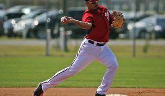 Washington Nationals second baseman Anthony Rendon makes a throw to first during a spring training baseball workout, Thursday, Feb. 20, 2014, in VIera, Fla. (AP Photo/Alex Brandon)