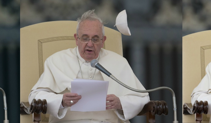 This combo shows a gust of wind blowing away Pope Francis' cap as he delivers his message during his weekly general audience in St. Peter's Square at the Vatican, Wednesday, Feb. 19, 2014. (AP Photo/Alessandra Tarantino)