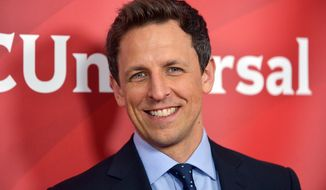"FILE - This Jan. 19, 2014 file photo shows Seth Meyers at the NBC/Universal Winter 2014 TCA in Pasadena, Calif. Meyers' new show, ""Late Night with Seth Meyers,"" will premiere on Monday, Feb. 24. (Photo by Richard Shotwell/Invision/AP/File)"