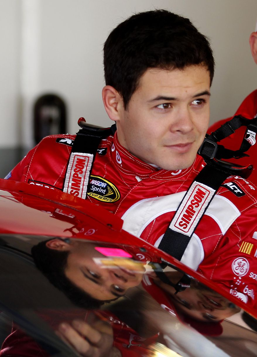 ADVANCE FOR WEEKEND EDITIONS, FEB. 22-23 - FILE - In this Feb. 15, 2014 file photo, Kyle Larson climbs into his car to practice for the NASCAR Daytona 500 auto race at Daytona International Speedway in Daytona Beach, Fla. Larson is considered a sure-fire star of the future. (AP Photo/Terry Renna, File)