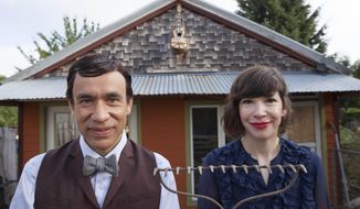 "This image released by IFC-TV shows Fred Armisen, left, and Carrie Brownstein from the series ""Portlandia."" The fourth season premiers on IFC on Thursday, Feb. 27 at 10 p.m. EST. (AP Photo/IFC, Augusta Quirk)"