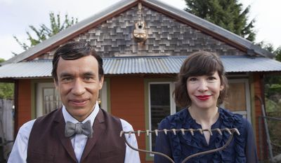 """This image released by IFC-TV shows Fred Armisen, left, and Carrie Brownstein from the series """"Portlandia."""" The fourth season premiers on IFC on Thursday, Feb. 27 at 10 p.m. EST. (AP Photo/IFC, Augusta Quirk)"""