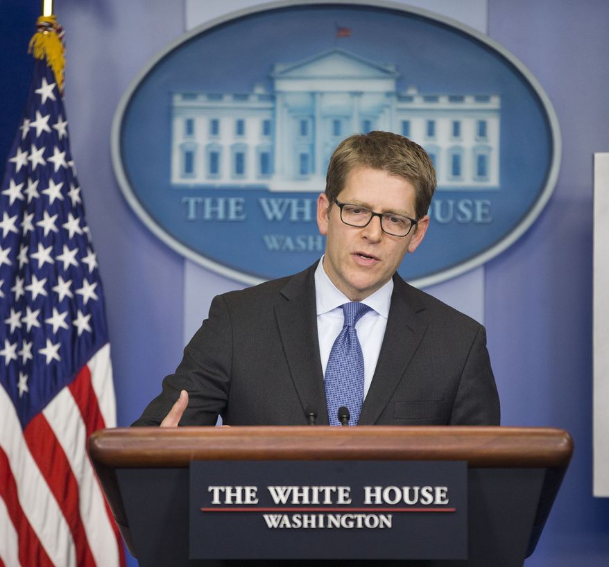 White House press secretary Jay Carney speaks during his daily news briefing at the White House in Washington, Friday, Feb. 21, 2014. President Barack Obama will speak with Russian President Vladimir Putin about the situation in Ukraine, the White House said. 'The fact of the matter is, it is in Russia's interest for the violence to end in Ukraine as it is in the interest of the United States and our European friends,' Carney told reporters today. (AP Photo/Pablo Martinez Monsivais)