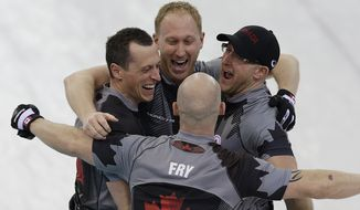 Canada's men's curling team as seen clockwise, Brad Jacobs, Ryan Harnden, Ryan Fry and E.J. Harnden celebrate after beating Britain to win the men's curling gold medal game at the 2014 Winter Olympics Friday, Feb. 21, 2014, in Sochi, Russia. (AP Photo/Wong Maye-E)