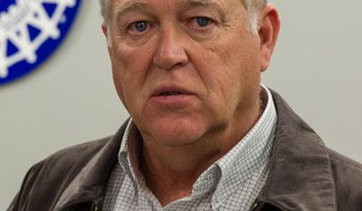 In this Feb. 14, 2014, photo, Dennis Williams, the secretary-treasurer of the United Auto Workers, speaks to reporters in Chattanooga, Tenn. Williams, who is poised to take over leadership of the UAW, says fears of the union's demise are unfounded. (AP Photo/Erik Schelzig)