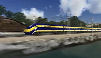 FILE - This image provided by the California High Speed Rail Authority shows an artist's rendering of a high-speed train speeding along the California coast.  Federal transportation officials have extended the deadline to July 1, 2014, that the California High-Speed Rail Authority has to start spending state money on the project. The use of state money is a condition of a federal grant. (AP Photo/California High Speed Rail Authority) ** NO SALES **