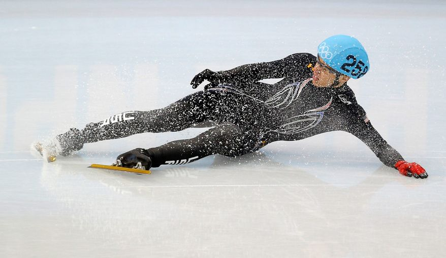 J.R. Celski of the United States crashes out in a men's 500m short-track speedskating quarterfinal at the Iceberg Skating Palace during the 2014 Winter Olympics. Celski, expected to be one of Team USA's short-track stars, garnered one silver medal.