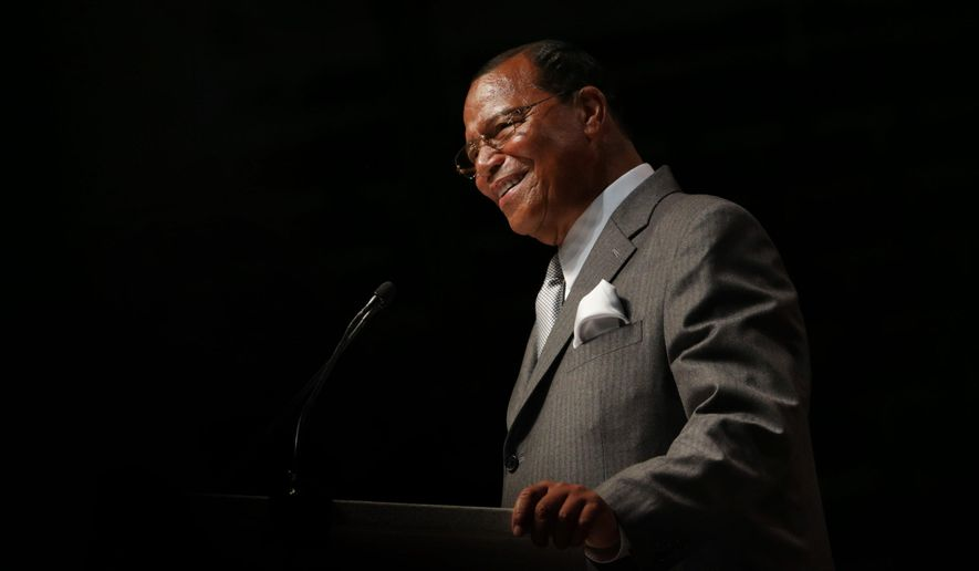 """The Honorable Minister Louis Farrakhan delivers the keynote address """"How Strong is Our Foundation: Can We Survive?"""" at the Joe Louis Arena in Detroit, Mich., on Sunday, Feb. 23, 2014. (AP Photo/ Detroit Free Press, Romain Blanquart)"""