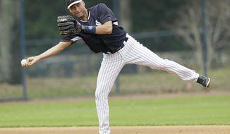New York Yankees shortstop Derek Jeter throws to second base during spring training baseball practice Friday, Feb. 21, 2014, in Tampa, Fla. (AP Photo/Charlie Neibergall)
