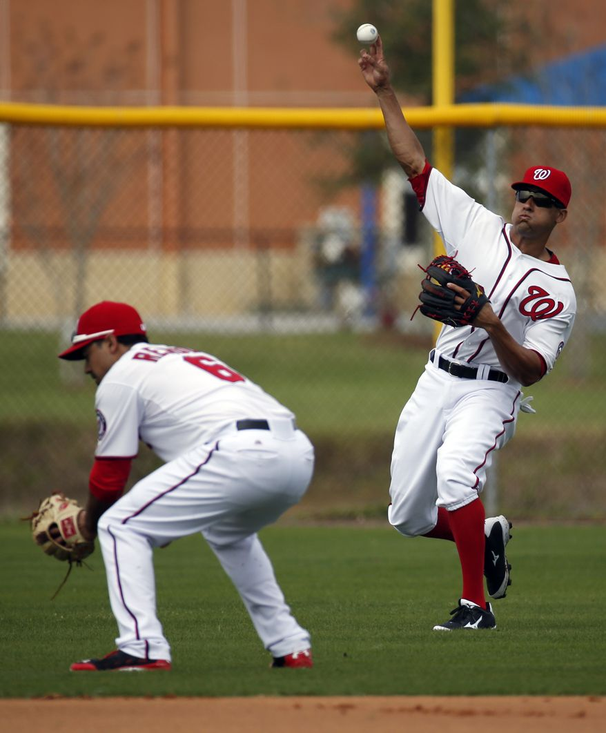 Washington Nationals shortstop Ian Desmond, left, makes a relay throw over second baseman Anthony Rendon during a spring training baseball workout, Sunday, Feb. 23, 2014, in Kissimmiee, Fla. (AP Photo/Alex Brandon)