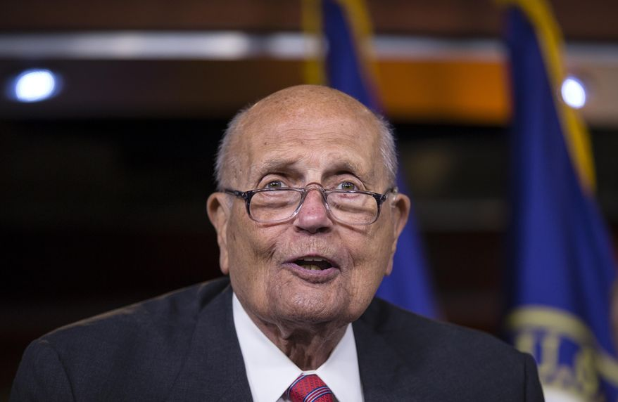 FILE - In this Oct. 4, 2013 file photo, Rep. John Dingell, D-Mich. speaks on Capitol Hill in Washington. According to AP source: Dingell, the longest-serving member of Congress, to retire. (AP Photo/J. Scott Applewhite, File)