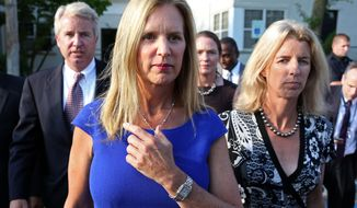 ** FILE ** In this July 17, 2012, file photo, Kerry Kennedy, ex-wife of New York Gov. Andrew Cuomo, center, is flanked by her brother Christopher Kennedy, left, and sister Rory Kennedy as she walks from the North Castle Justice Court in Armonk, N.Y. (AP Photo/Craig Ruttle, File)