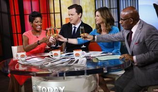 "This Monday, Feb. 24, 2014, photo released by NBC shows, from left, Tamron Hall, Willie Geist, Natalie Morales and Al Roker on the set of NBC's ""Today"" show. (AP Photo/NBC, Peter Kramer)"