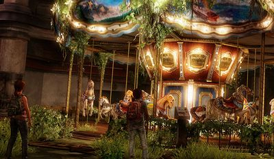 Ellie and Riley look to have some fun on a merry-go-round in the video game The Last of Us: Left Behind.
