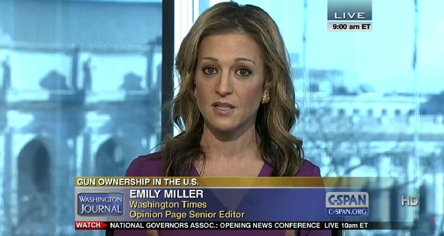 "Emily Miller on C-SPAN ""Washington Journal."" Feb. 24, 2013."