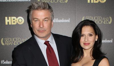 Actor Alec Baldwin , shown here with wife Hilaria, has been cast to play the mayor of New York City in a new HBO drama. (Photo by Greg Allen/Invision/AP, file)