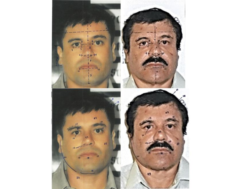 "This combo of photographs released by Mexico's Attorney General Office (PGR) with identification mapping marks made by the source to point out similarities in face measurements, shows Joaquin ""El Chapo"" Guzman, using images made from his 1993 and 2014 detentions. The images at right were taken after his Feb. 22, 2014 arrest, and the photos at left were taken after his detention in 1993. The PGR used the pictures, among other tests, to determine that the man detained on Saturday, Feb. 22, 2014 was indeed the drug lord. Guzman was recaptured in Mexico's Pacific coast city of Mazatlan after 13 years on the run as fugitive head of the Sinaloa cartel. (AP Photo/PGR)"