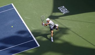 Tomas Berdych of the Czech Republic returns the ball to Marius Copil of Romania during the second round of the Dubai Duty Free Tennis Championships in Dubai, United Arab Emirates, Tuesday, Feb. 25, 2014. (AP Photo/Kamran Jebreili)