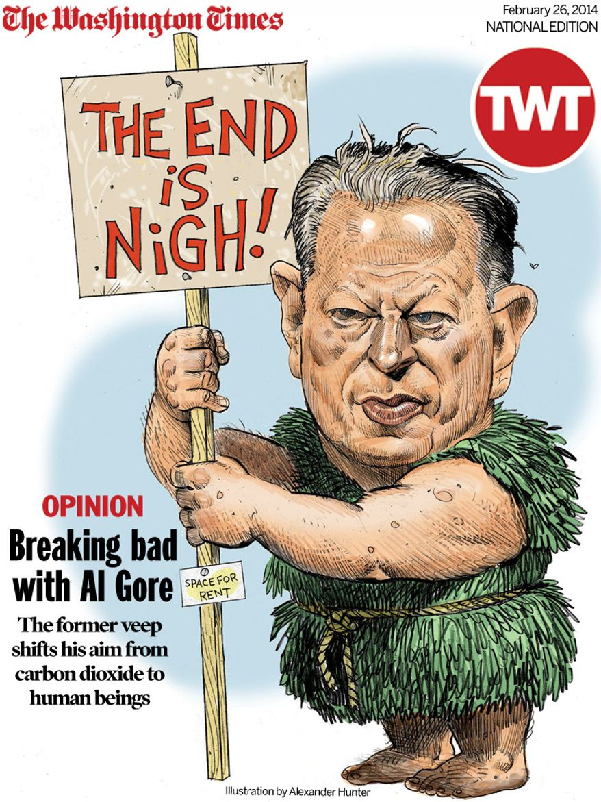 National Edition Opinion cover for February 26, 2014 - Breaking bad with Al Gore (Illustration by Alexander Hunter  for The Washington Times)