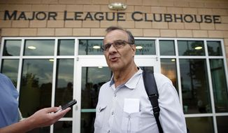 Joe Torre, executive vice president of baseball operations for Major League Baseball, speaks during a media availability after a meeting about the new instant replay rules with team management from the Houston Astros, the Washington Nationals, the Atlanta Braves, and the Detroit Tigers, at the spring training facility for the Houston Astros, Friday, Feb. 21, 2014, in Kissimmee, Fla. (AP Photo/Alex Brandon)