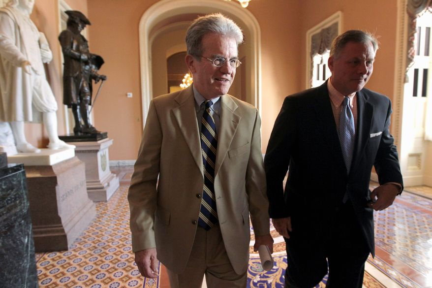Sen. Tom Coburn (left) says opening up coverage to more veterans could lead to longer wait times for injured and low-income veterans already receiving care, and Sen. Richard Burr (right) is arguing against using spending from the Afghanistan War to pay for additional spending. (Associated Press)