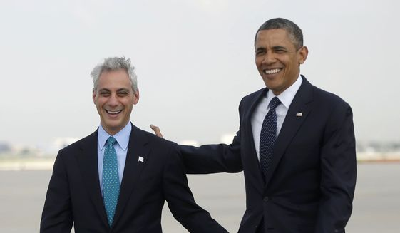 Then-President Barack Obama walks with Chicago Mayor Rahm Emanuel on the tarmac upon his arrival at O'Hare International Airport in Chicago on May 29, 2013. (Associated Press) ** FILE **