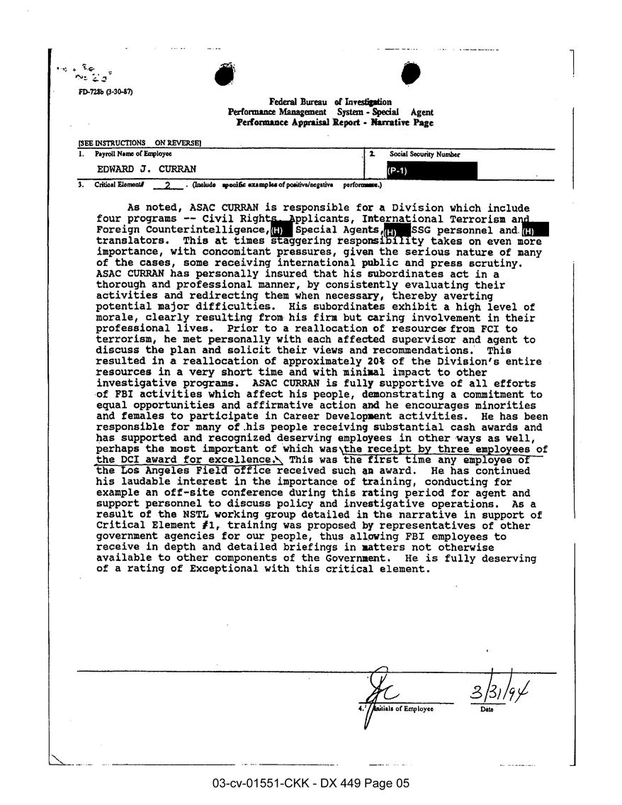 FBI performance appraisal report for Edward Curran.