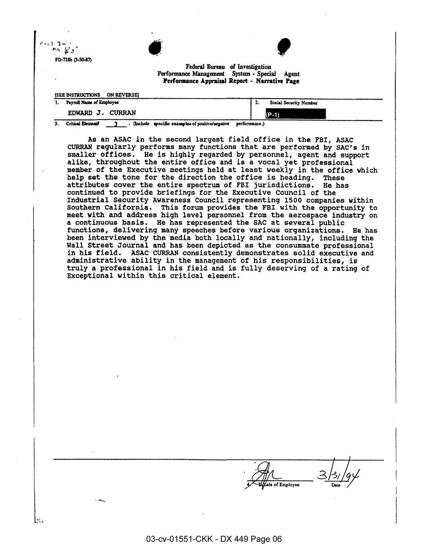 FBI performance appraisal report for Edward Curran.