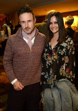 "FILE - This Feb. 6, 2013 file photo shows actor David Arquette, left, and Christina McLarty at the opening night of ""The Gift"" at the Geffen Playhouse in Westwood, Calif. Arquette and McLarty are expecting a baby boy in May. (Photo by Jordan Strauss/Invision/AP, File)"