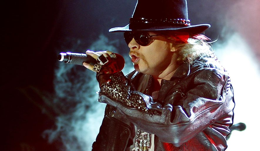 This Dec. 7, 2012 file photo shows Axl Rose, lead vocalist of Guns N' Roses performing during their concert in Bangalore, India. (AP Photo/Aijaz Rahi, file)