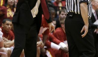 Iowa State coach Fred Hoiberg argues for a foul call against West Virginia during the first half of an NCAA college basketball game in Ames, Iowa, Wednesday, Feb. 26, 2014. (AP Photo/Justin Hayworth)
