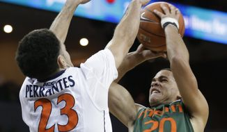 Virginia guard London Perrantes (23) tries to block the shot of Miami guard Manu Lecomte (20) during the first half of an NCAA college basketball game in Charlottesville, Va., Wednesday, Feb. 26, 2014. (AP Photo/Steve Helber)