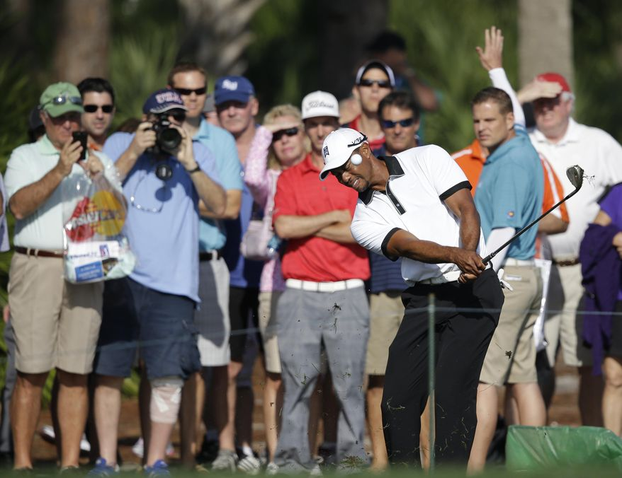 Golfer Tiger Woods hits from out of bounds on the third hole during the Pro-Am round of the Honda Classic golf tournament, Wednesday, Feb. 26, 2014 in Palm Beach Gardens, Fla. (AP Photo/Wilfredo Lee)